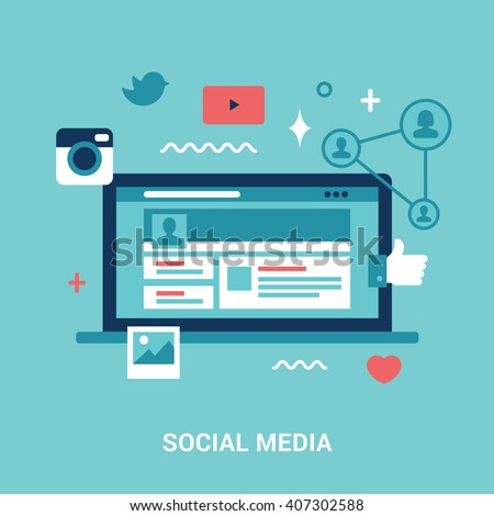 Flat style social media illustration. #407302588