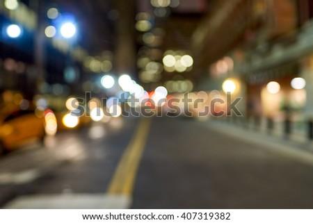 Defocused shot of New York City at night. #407319382