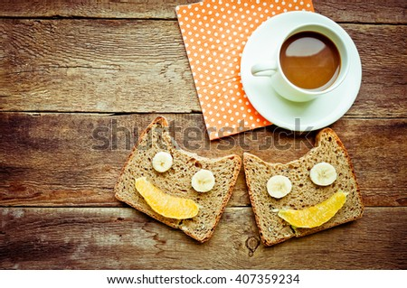 Funny morning toast and coffee background. toned image