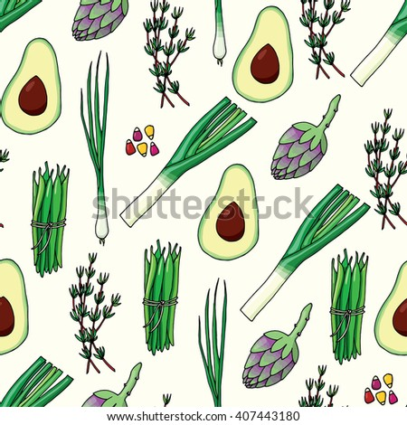 Seamless pattern background with vegetables #407443180