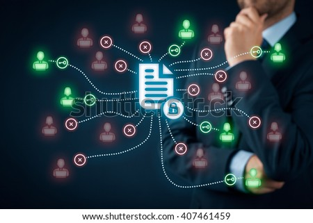 Corporate data management system (DMS) and document management system with privacy theme concept. Businessman think how to protect document connected with users, access rights symbolized by key.