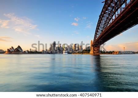 Sydney skyline during sunrise from Milsons point in Sydney, Australia.