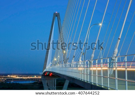 Steel cable stays used to suspend the Ravenel Bridge over the Cooper River in Mount Pleasant, Charleston, South Carolina. #407644252