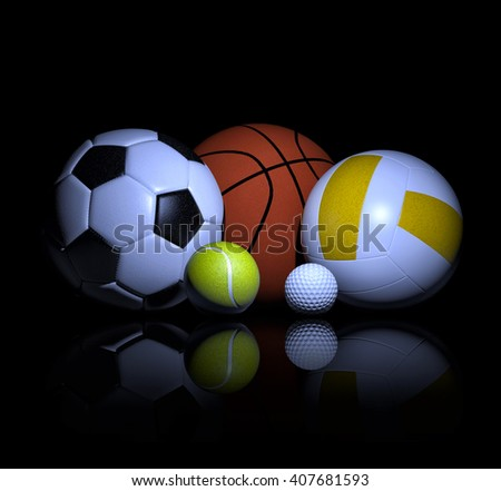 Sports balls 3d rendering