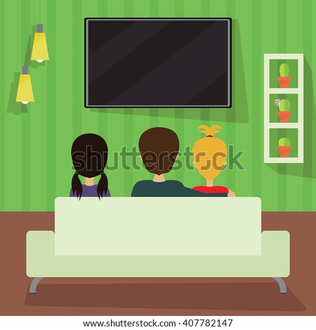 Three people watching television. Movie night illustration. Interior design vector. Third person. #407782147