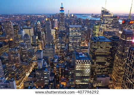 NEW YORK CITY - APRIL 1: Cityscape view of Manhattan, New York City, USA at night,  April 1 2014 in New York, USA  #407796292