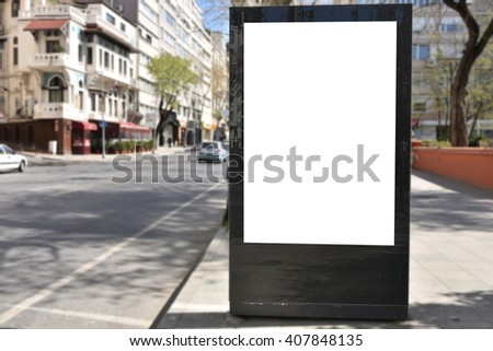 Blank billboard or poster in city center #407848135