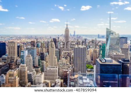 Aerial view of Manhattan skyline, New York City, USA. Tilt-shift effect applied #407859094