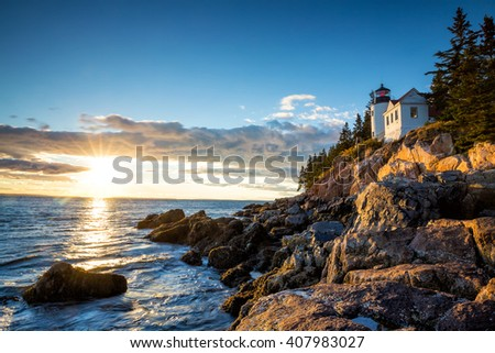 Bass Harbor Lighthouse at sunset Acadia National Park, Maine USA Royalty-Free Stock Photo #407983027