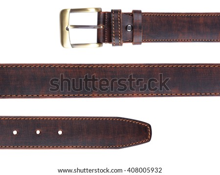 Brown leather belt isolated on white background Royalty-Free Stock Photo #408005932