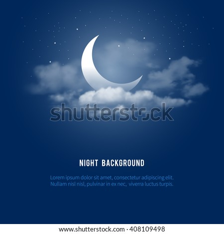 Mystical Night sky background with half moon, clouds and stars. Moonlight night. Vector illustration. Royalty-Free Stock Photo #408109498