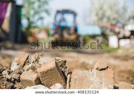 Destruction of building Royalty-Free Stock Photo #408135124