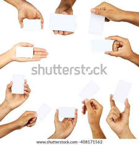 The Hand holding a business card, collage