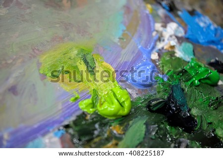 Palette with colorful oil paints, background, texture, #408225187