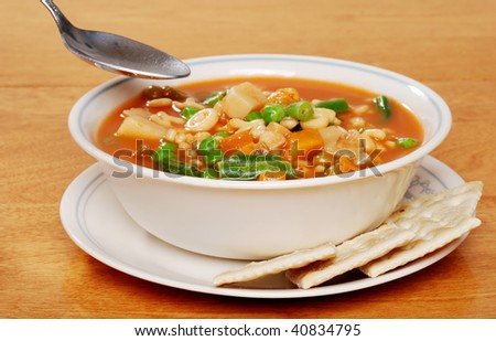 serving of vegetable soup #40834795