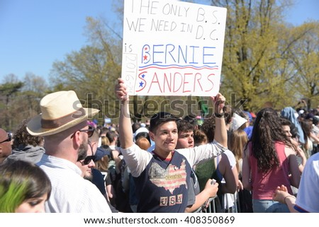 NEW YORK CITY - APRIL 17 2016: Democratic presidential candidate Bernie Sanders held a rally in Prospect Park, Brooklyn. #408350869