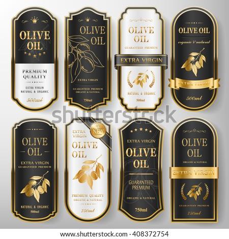 elegant premium olive oil labels set collection over pearl white  #408372754