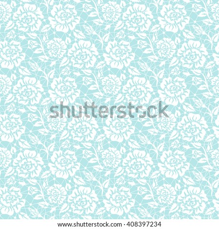Seamless white lace background with floral pattern #408397234