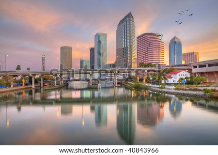 Beautiful pink sunrise and reflections in downtown Tampa, Florida