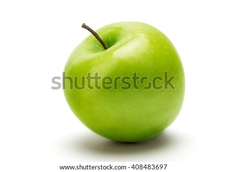 Perfect Fresh Green Apple Isolated on White Background in Full Depth of Field with Clipping Path. Royalty-Free Stock Photo #408483697