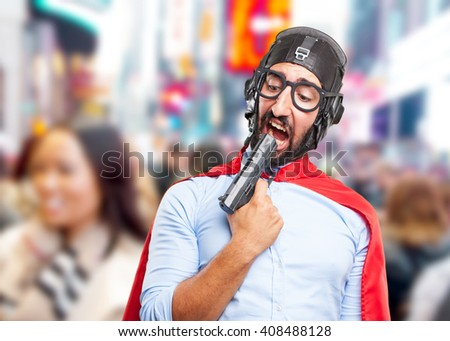 crazy hero. sad expression #408488128