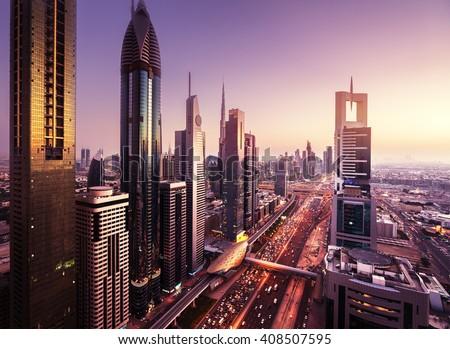 Dubai skyline in sunset time, United Arab Emirates Royalty-Free Stock Photo #408507595