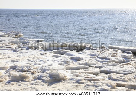 sea ice natural scenery in winter, closeup of photo #408511717