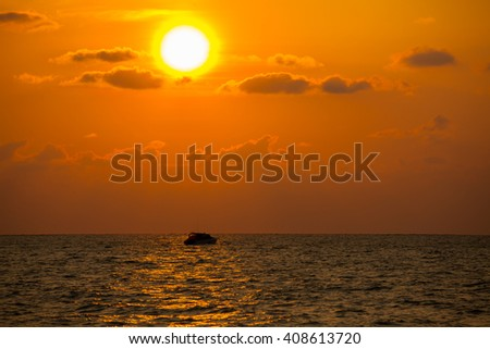 Beautiful sunset and sea wave in the sea. Thailand. #408613720