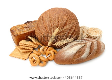 bread and flour products isolated on white background #408644887