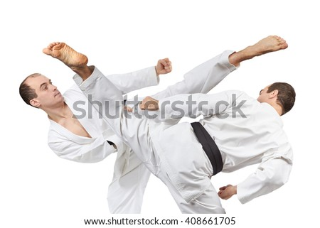 Kick leg in the performance of an athlete with black belt  a collage #408661705