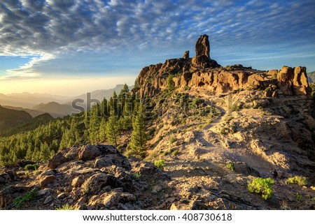 Nature and landscape of the Canary Islands - Mountains of Gran Canaria Royalty-Free Stock Photo #408730618