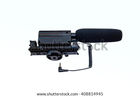 microphone used in camera and film production isolated on white background.