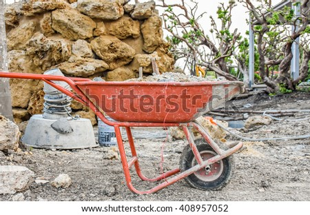 sand truck at a construction site. #408957052