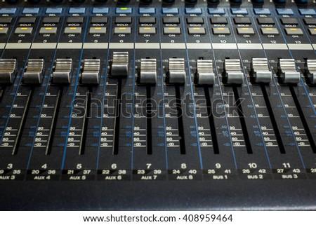 Sound mixer (fader, EQ, control) in studio #408959464