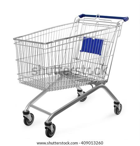 shopping cart isolated on white background Royalty-Free Stock Photo #409013260