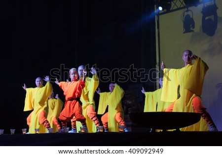 BRNO, CZECH REPUBLIC-APRIL 11,2016: Show The Mystical Powers of The Shaolin Monks of China on April 11 ,2016 in City Hall Vodova in  Brno in Czech Republic #409092949