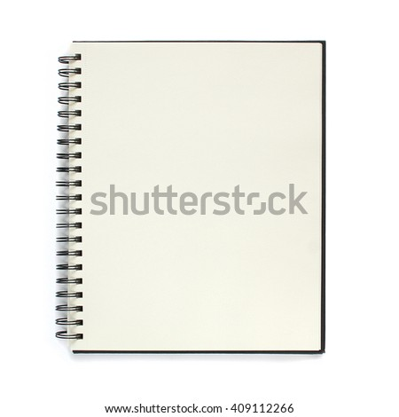 Notebook isolated on white background. Black notepad. #409112266