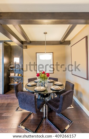 Modern dining room in luxury house. #409266157