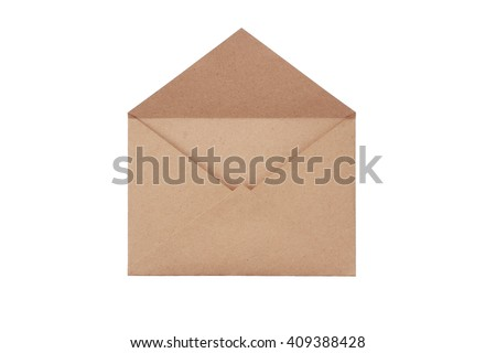 Brown craft envelope isolated on white background Royalty-Free Stock Photo #409388428