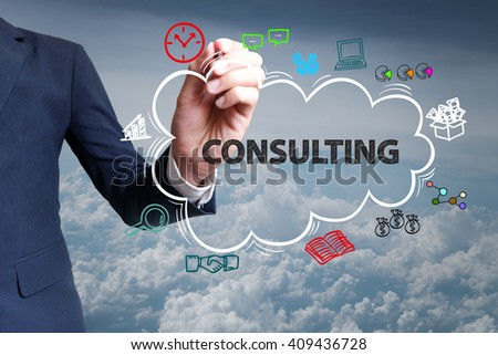 businessman hand draw cloud , icon cartoon with CONSULTING text , business online , business concept ,business idea , analysis concept