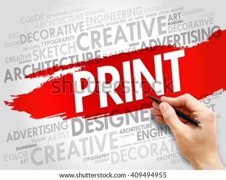 PRINT word cloud concept Royalty-Free Stock Photo #409494955