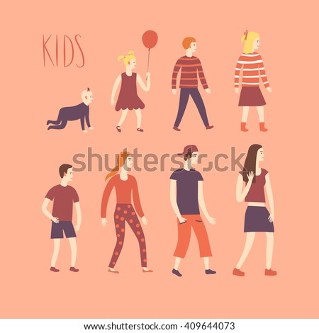 Set of cartoon kids in various ages. Including baby, kid, teenager. Characters illustrations for your design. #409644073