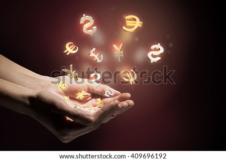 Currency glowing symbols #409696192