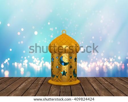 Arabic Ramadan Lantern | 3D Illustration | Golden over a Bokeh Background #409824424