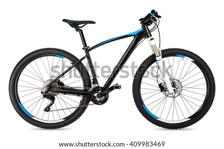black blue mountain bike isolated on white background