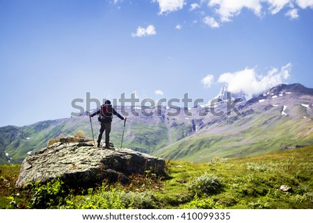 Hiker in the mountains #410099335