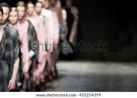 Fashion Show, A Catwalk Event, Models On A Runway, blurred on purpose
