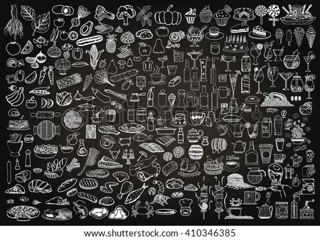 Set of food and drinks doodle on chalkboard background. Royalty-Free Stock Photo #410346385