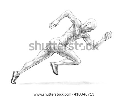 Sports Series / Sketchy pencil drawing of a running man / High Resolution Scan