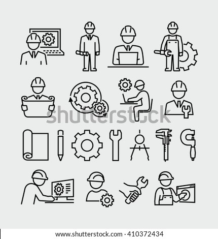 Engineering vector icons set  Royalty-Free Stock Photo #410372434